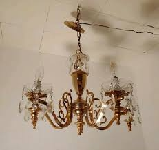 solid brass chandelier 5 arms rewired