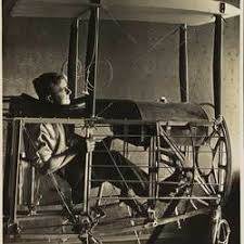 Photograph - Basil Watson Seated in Cockpit of Partially Constructed  Biplane Fuselage in the Family Home, Elsternwick, Victoria, 1916