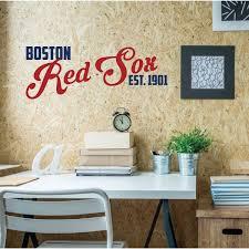 Amazon Com Red Sox Wall Decal Boston Baseball Decorations Sports Team Athlete Bedroom Decor Vinyl Wall Decal Mlb Wall Decals For Bedrooms Playroom Dorm Or Home Mancave Wall Decor Handmade