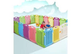 Dick Smith Cuddly Baby Playpen 23 Panel Plastic Play Pen Interactive Kids Toddler Gate Playpens