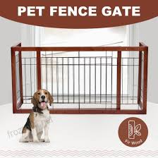 Mecor Pet Dog Fence Gate Free Standing Gate Adjustable Indoor Solid Wood Small Dark Brown