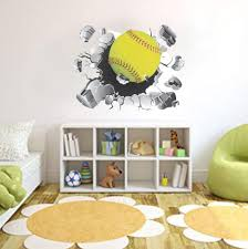 Softball Wall Decal Busting Wall Decal Sports Ball Decal Girl S Softball Vinyl Wall Graphics Softball Graphics Sports Decor Wall Art