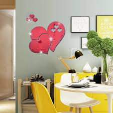 3d Heart Shaped Mirror Finish Wall Stickers My Aashis