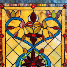stained glass fiery hearts