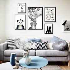 Modern Minimalist Nordic Black White Kawaii Animals Large Art Prints Poster Kids Room Home Decor Wall Picture Canvas Painting Wallcorners Art Canvas