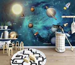 Amazon Com Murwall Kids Wallpaper 3d Solar System Wall Murals Planet Wall Decor Boys Girls Bedroom Space Wall Art Playroom Childroom Handmade