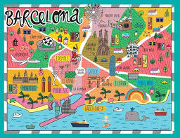 Barcelona Map Wall Decor Map Wall Decal Home Decor Etsy