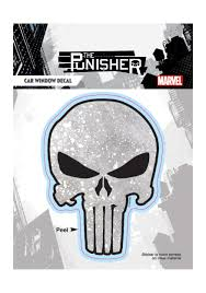 Weathered Dotted Gray Punisher Skull Car Window Decal