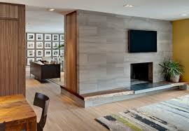 marble tile surrounds fireplace