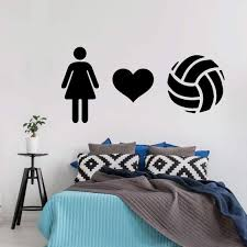 Volleyball Wall Decal Heart Vinyl Decor For Girl S Etsy