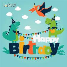 خلفيات تصوير Laeacco لحفلات أعياد ميلاد الأطفال على شكل ديناصور