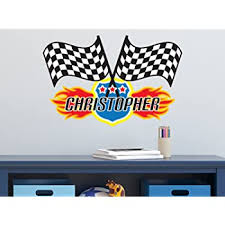 Amazon Com Sunny Decals Custom Name Checkered Racing Flag Wall Decal Removable Fabric Wall Sticker Baby