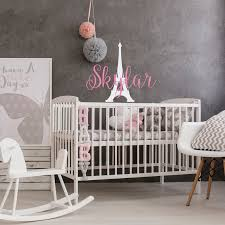 Baby Girl Name Wall Decal Personalized Paris Bedroom Decor Etsy