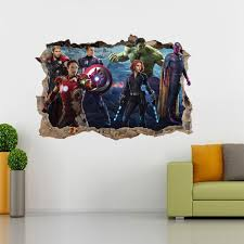 The Avengers Decal 3d Smashed Broken Wall Sticker H145 Decalz Co