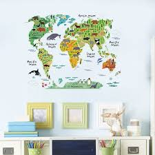 60x90cm World Map Wall Sticker Animal Kids Room Nursery Home Diy Removable Decal Decor Walmart Canada