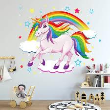 Cartoon Diy Super Cute Rainbow Unicorn Wall Sticker For Kids Room Decor Furniture Wardrobe Bedroom Living Room Decal Wall Stickers Aliexpress