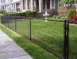 All Vinyl Black Chain Link Fence Black Chain Link Fence Front Yard Fence Easy Fence