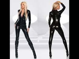 women black leather jumpsuit you