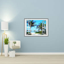 Bay Isle Home Tropical Palapa Scene 3d Window Frame Peel And Stick Removable Wall Decal Reviews Wayfair