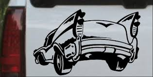 Classic Big Fin Muscle Car Decal Car Or Truck Window Decal Sticker Or Wall Art Decalsrock