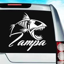 Tampa Florida Fish Skeleton Vinyl Car Window Decal Sticker