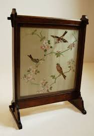 victorian embroidered fire screen
