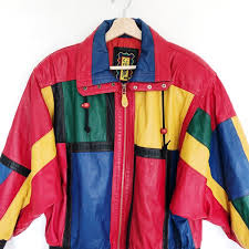 80s 90s colorful leather jacket