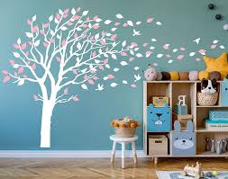Amazon Com Aiyang Blossom Tree Wall Decals Flying Birds Wall Stickers Removable Vinyl Wall Art Wall Decorations For Kids Baby Nursery Room Decoration White Pink Kitchen Dining