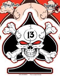 Lucky 13 Skull Spade Aftermath Decal Sticker Custom Sticker Shop