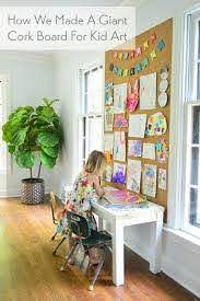 How To Make A Giant Cork Board Wall For Kid Art Young House Love Art Display Kids Cork Board Wall Kids Artwork