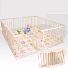 Amazon Com Large Wood Kids Safety Playpen With Gate Toddlers Baby Activity Area Fence For Indoor Outdoor House Height 66cm Size 150 300 66cm Baby
