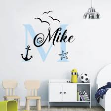 Personalized Name Wall Decal Ocean Birds Anchor And Starfish Wall Decal Sticker Nursery For Home Krafmatics