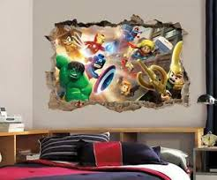 Lego Marvel Dc Smashed Wall 3d Decal Removable Graphic Wall Sticker Mural H163 Ebay