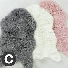 dark grey sheepskin rug mat