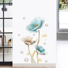 3d Effect Blue Lotus Wall Stickers Large Decorative Stickers Living Room Home Decor Flowers Wall Decals Bedroom Art Design Pvc Leather Bag