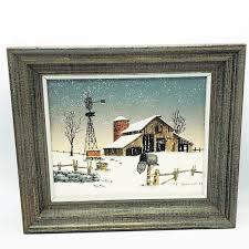 Wall Art C Carson Barn And Windmill In Winter Canvas Framed Poshmark