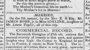 10 Mar 1827, Marriage of James Robb and Adeline Taylor. Married by ...