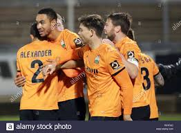 Matchwinner Byron Harrison of Barnet receives the congratulations during  the The FA Cup 1st round replay match between Bristol Rovers and Barnet at  the Memorial Stadium, Bristol, England on 21 November 2018.