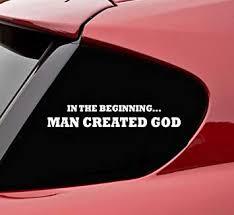 Amazon Com Slap Art In The Beginning Man Created God Vinyl Decal Bumper Sticker Darwin Evolution Jesus Fish Automotive