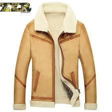 mens sheepskin casual coat winter male