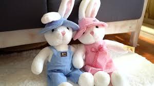 Cặp đôi thỏ đồ chơi sang trọng cho bé gái ngày sinh nhật món quà dễ thương  búp bê búp bê thỏ trắng