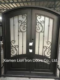 China Front Steel Entry Iron Double Doors Iron Gate Designs China Steel Fire Door Metal Side Door