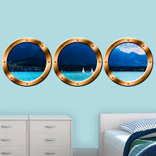 East Urban Home 3 Piece Ocean View Boat Window Wall Decal Set Wayfair
