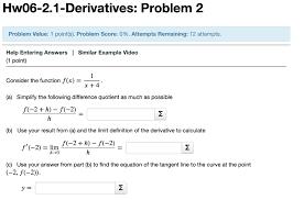 solved hw06 2 1 derivatives problem 2