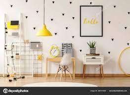 Plant Cabinet Next Desk White Chair Child Room Interior Yellow Stock Photo C Photographee Eu 209147590
