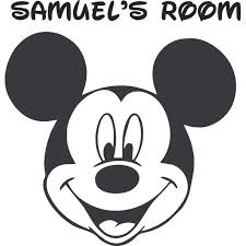 The Mickey Mouse Head Cartoon Character Vinyl Customized Name Decal Custom Vinyl Wall Art Personalized Name Baby Girls Boys Kids Bedroom Decal Room Stickers Decoration Size 40x35 Inch