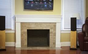 tile over brick fireplace design