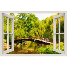 Window Frame Mural Garden Bridge Huge Size Peel And Stick Fabric I Royalwallskins