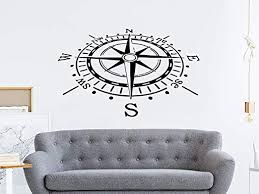 Amazon Com Compass Wall Decal Nautical Compass Rose Navigate Vinyl Sticker Decals Art Home Decor Wall Decal Living Room Bedroom Ship Ocean Sea C81 Home Kitchen