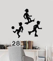 Vinyl Wall Decal Soccer Skateboard Rollers Sport Boys Kids Room Sticke Wallstickers4you